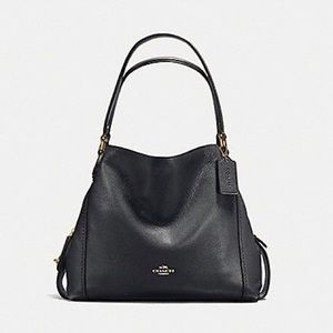 Coach 57125 Leather Edie Shoulder Bag - Black